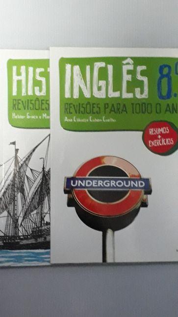 Dois livros de resumos e exercícios de Inglês e História, para o 8ºano