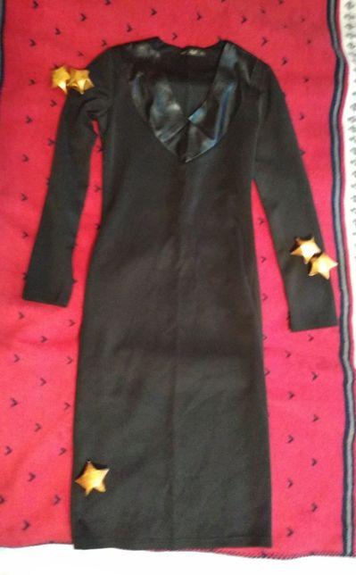 Черное платье для офиса, турецкий трикотаж (46 р.)