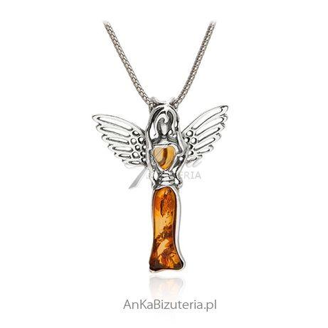 ankabizuteria.pl kolczyki serca duże Zawieszka srebrna z bursztynem AN