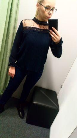 Bardzo modna piękna bluzka damska szyfon koronka zwiewna uniwersalna