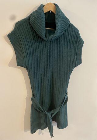 Sweterek tunika bez rękawów z golfem. akryl zielony 38/40 M / L.