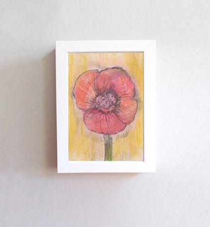mak rysunek oprawiony, mak obrazek mały, mały rysunek z kwiatkiem