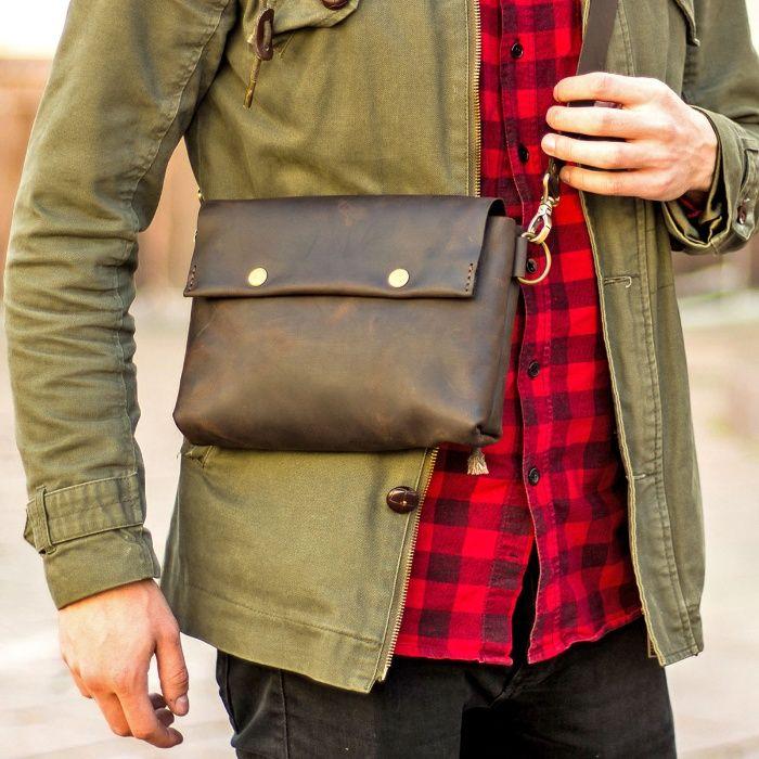 Мужская сумка Кросс Боди + Подарок. Ручная работа, натуральная кожа