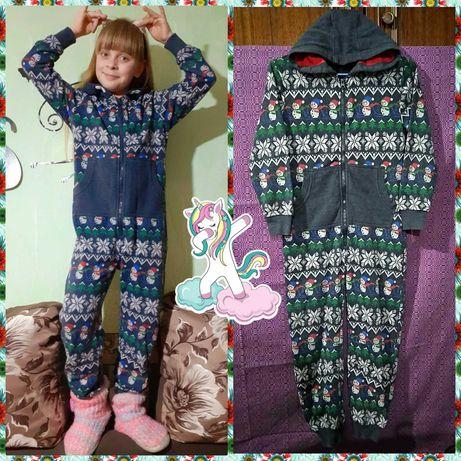 Коттоновый утепленный слип, пижама на 7-9 лет, р.125-134см