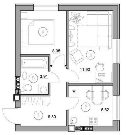 Супер двухкомнатная квартира 37м2 по супер цене от застройщика!
