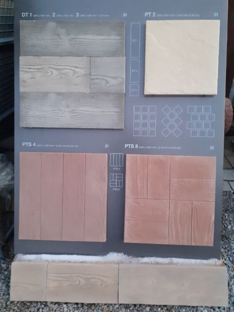Drewno ogrodowe płytki chodnikowe płyty drewnopodobne kamień ściezki