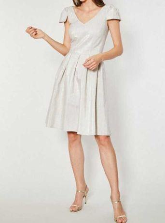 Sukienka rozkloszowana Balleria marki Click Fashion r.36 len-bawełna