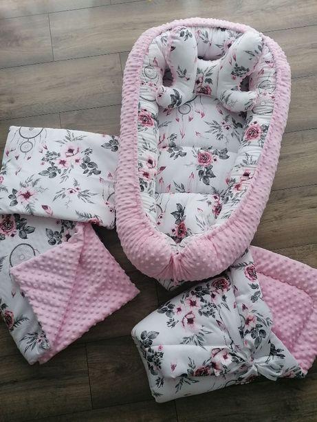 Zestaw nowy kokon niemowlęcy, rożek, kocyk, poduszeczka i motylek