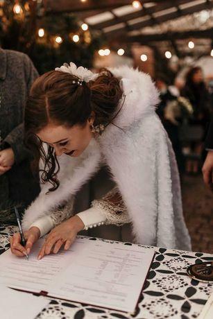 Zimowy płaszcz ślubny