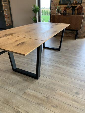 Stół dębowy do jadalni rozkładany metalowe nogi styl loft
