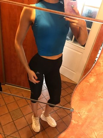 koszulka niebieska damska bez rękawów 36 S trening siłownia bluzka kró