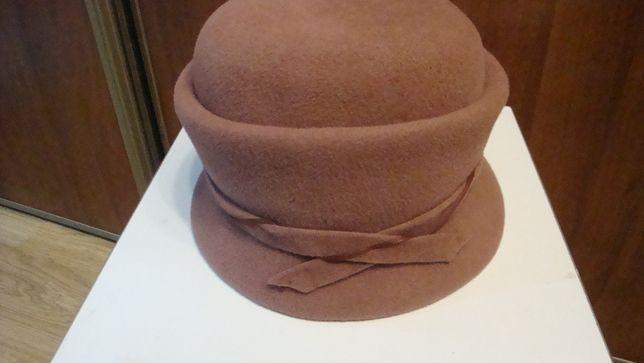 Damski kapelusz filcowy BRUDNY RÓŻ roz.54-55 cm