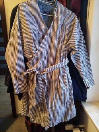 Sukienka diverse 38 M L wiązana w paski koszulowa elegancka oversize