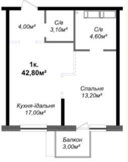 """1к ЖК""""Скай Сити"""", ул.Варненская! Кухня 17 кв! Балкон! 2 Санузла! 8 эт!"""