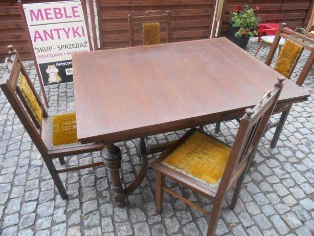 eklektyczny stół debowy rozkladany z krzeslami, antyk transport