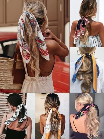 Шелковая косынка шелковый платок для волос заколка резинка твилли
