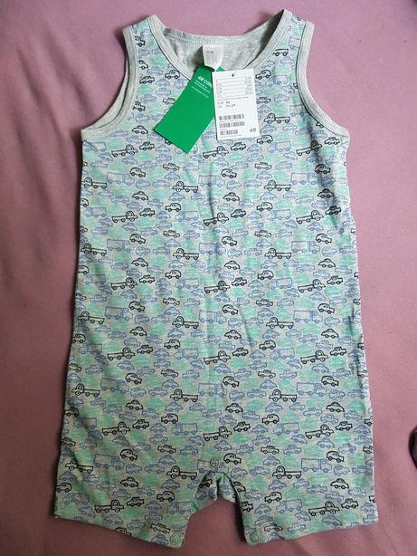 Nowe zestaw body rampers organiczna bawelna piżama 92