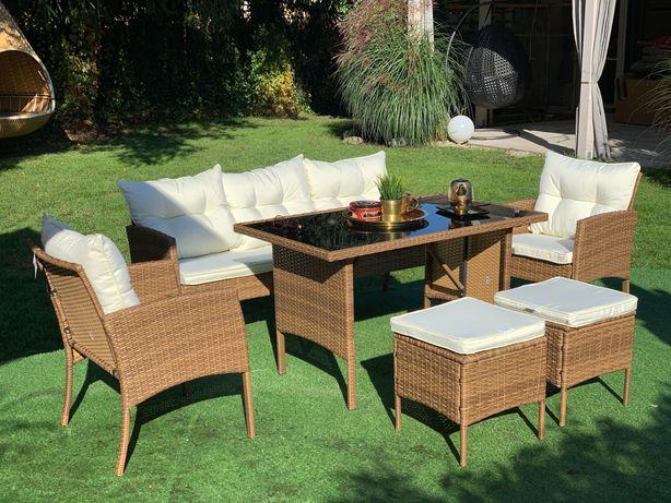 meble technorattan Modena beżowoszary sofa stół fotel zestaw mebli
