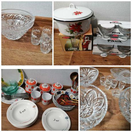 Сервиз чайный стаканы креманки хрусталь вазы кастрюля ложки салатники