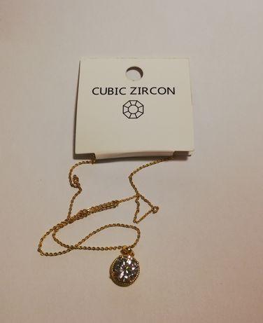 Naszyjnik cubic zircon nowy pozłacany z cyrkonią