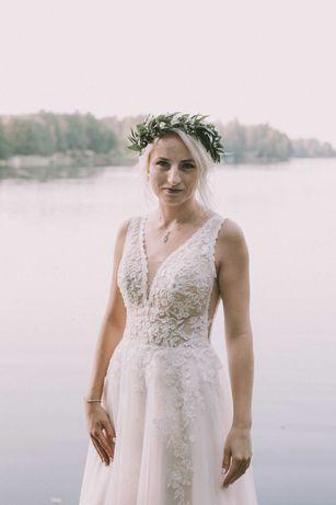Suknia ślubna Rima, bez trenu, litera A, welon
