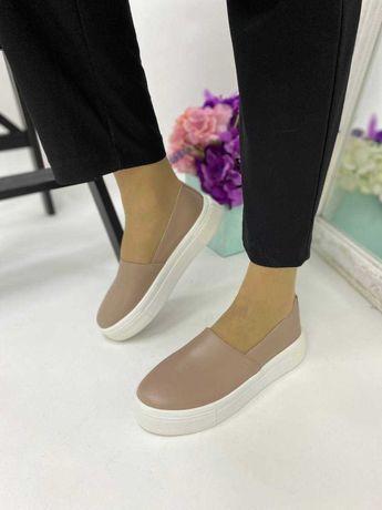 Туфли женские слипоны женские кожаные бежевые 36-41
