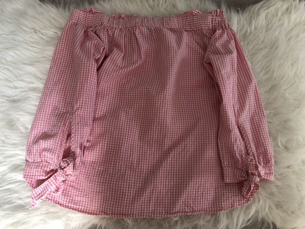 Koszula różowa w drobną kratkę z odkrytymi ramionami H&M 36 S