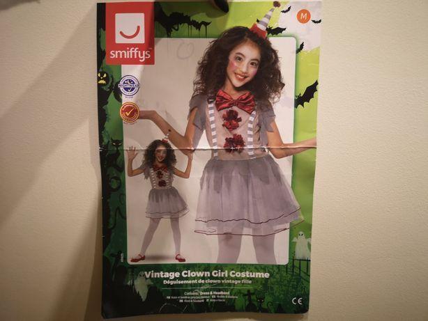 Sukienka vintage clown zabytkowy clown halloween roz.7-9lat(122-134cm)