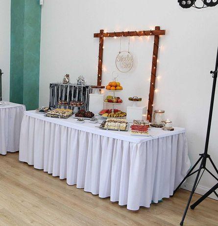 Ścianka słodki stół, weselna, drewniana, ślubna, rustykalna