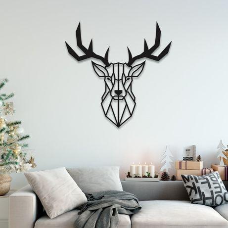 Олень панно на стіну стену картина декор дерево метал металл стол лофт