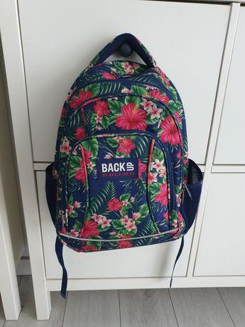 Plecak Back Up szkolny tropikalny kwiatki granatowy kolorowy