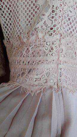 Sukienka Medicine M 38 pudrowy roz plisowana plisy midi