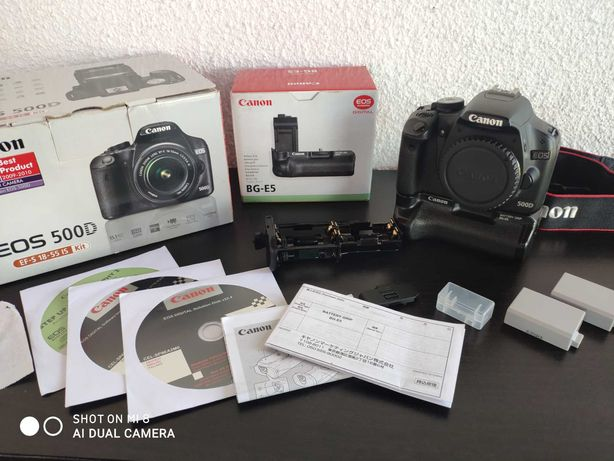 Canon 500d + oryginalny grip + baterie