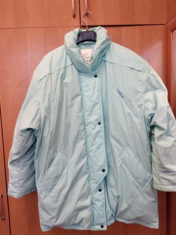 Куртка женская бирюзового цвета, р.50-52, 50% пух