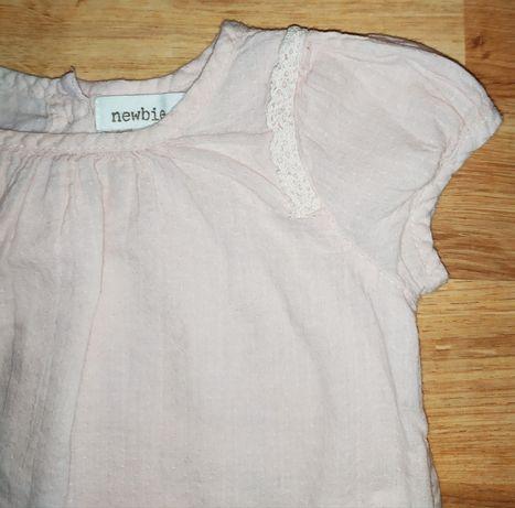 Bluzka Newbie 62 pudrowy róż letnia koszula koszulka bluzeczka