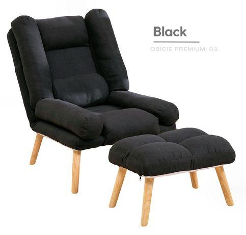 Fotel w stylu skandynawskim Uszak Dior z podnóżkiem