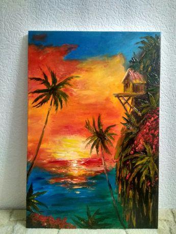 """Картина маслом """"Где-то на Гавайях"""""""