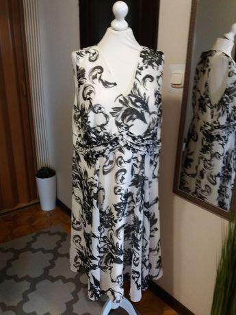 Biało-czarna sukienka m-ki Savoir, r. 48.