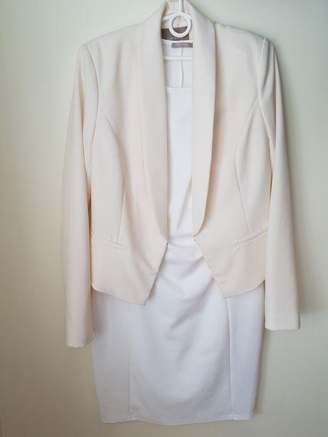 Orsay asos hm zara reserved biała sukienka żakiet marynarka 38 40