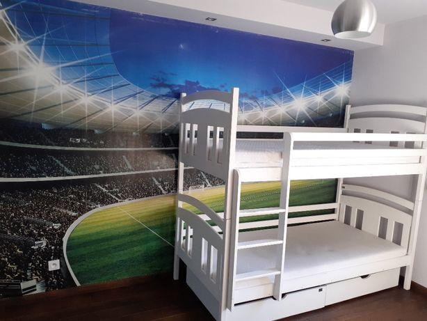 Nowoczesne białe łóżko piętrowe z szufladami
