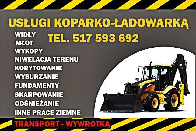 Usługi KOPARKO - ŁADOWARKA Młot Widł wykopy Koparka Wywrotka Transport