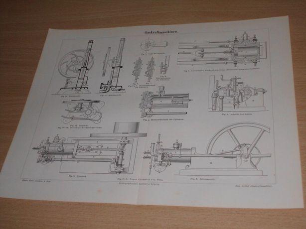 Industrialnie - Maszyny XIX w. oryginalne grafiki do aranżacji wnętrz