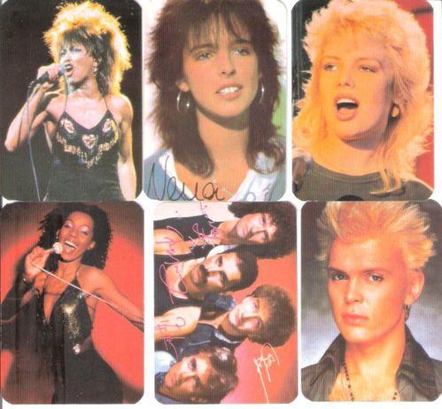 """Calendários 1985 """"Cantores Rock - 1ª Serie"""" ARPA"""
