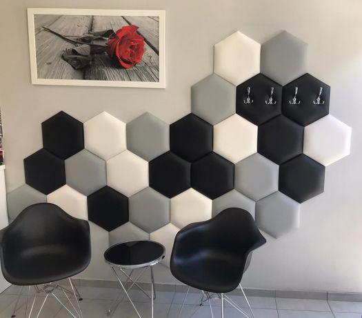 Panele Eko Skór heksagony tapicerowane