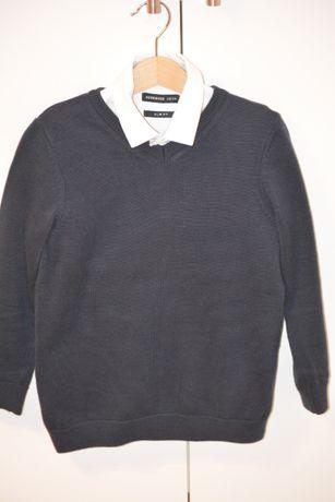 Elegancki granatowy sweter dla chłopca r. 110/116 IDEAŁ