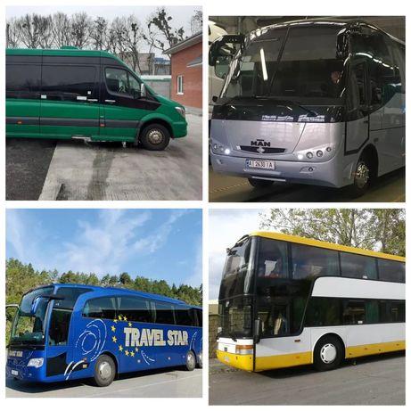 Заказ автобусов 21-37-55-78 мест. Пассажирские перевозки Киев, аренда