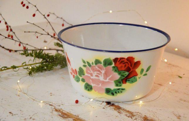 Emaliowana balia miska miednica w kwiaty śr 23 cm