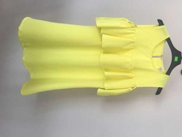Neonowa sukienka z falbaną żółta zielona neon na lato 38 m
