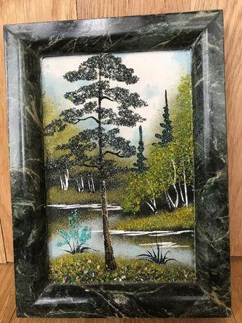Картина из натуральных камней самоцветов в раме малахита панно пейзаж