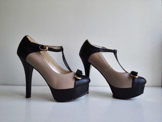 Женские Туфли на каблуке и платформе, черные, бежевые